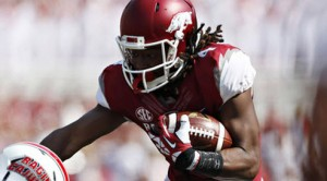WR Keon Hatcher and the Razorbacks are 25-point favorites in Week 1 action against Louisiana Tech.
